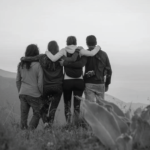 Friends on a cliff